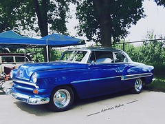 Blue Bel Air (novice09) Tags: backtothefifties carshow chevrolet belair customized photoscape ipiccy 1954