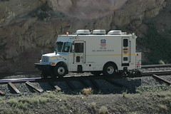 Rail Inspection Vehicle (D70) Tags: sanpete utah unitedstates van railway vehicle rail inspection international 4900 three air conditioning units roof