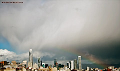 Afternoon Rainbow (Walker Dukes) Tags: sanfrancisco california sky sfbayarea sf canon cityscape clouds canonxti landscape urban vista view violet orange red blue black green yellow cyan white cloud skyline skyscrapers salesforce tower