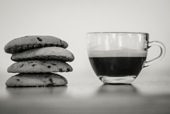 Day 5 of 365 - Stacked (gcarmilla) Tags: 365 365project coffee caffè cafe cookies biscotti galletas bw blackandwhite biancoenero monochrome stacked espresso cup tazzina trasparente transparent