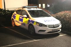 Hertfordshire Police . OU18BLV . Hockrill , Bishop's Stortford , Hertfordshire . Thursday 14th-February-2019 . (AndrewHA's) Tags: hertfordshire bishopsstortford police car vauxhall astra cdi ou18blv emergency 999