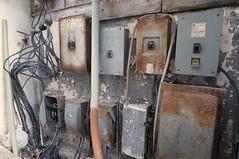 Shrine to Nikola Tesla (Restless Eye) Tags: playadelcarmen quintanaroo mexico electrical junction fuse breaker box decrepit wires rust panels cables power