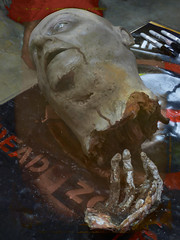 The Dead Zone (Steve Taylor (Photography)) Tags: head hand bleeding decapitated makeup deadzone art sculpture model muted red brown white scary eerie frightening spooky crayons plastic man newzealand nz blood southisland canterbury christchurch armageddonexpo