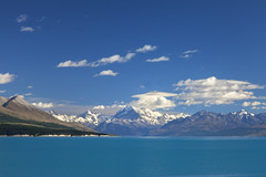 Blue (Joost10000) Tags: lake pukaki mountcook new zealand south island travel southisland landscape landschaft nature natur view beauty canon canon5d eos canterbury summer outdoors mountains forest galcier clouds