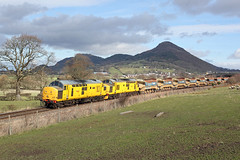 97304 + 97302 Buttington 22nd February 2014 (John Eyres) Tags: with recent engineers trains cambrian dug out this shot from 2014 which sees 97304 97302 passing buttington near welshpool 6w70 1042 bescot talerddig autoballasters 220214