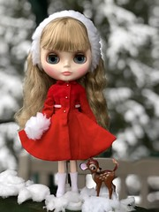 Claire was all dressed for a spring photo shoot and SNOW❄️ happened! So she quickly chose a 1964 Skipper classic and added a little muff, hat and Sarah Shade's boots. Maybe the spring photo shoot will happen next week. 🌷 (Painters Life) Tags: vintageredvelvet skipper1964 vintageskipper bambi snow takara blythe clearlyclaire