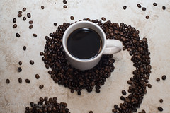 Studio Coffee (Denise Ankrum Photography) Tags: 0713 studio white cup swirl design roasted beans maui coffee dark roast brown above overheadshot