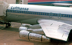 Engines of a Boeing 707 (craigsanders429) Tags: boeing707 707 luthansa johnfkennedyairport aircraft airlines airliners airplanes airports jet jetliner aircraftengines wing aircraftwing aircraftatgate