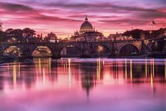 Sunset in Rome (seantindale) Tags: rome italy europe olympus omd em1markii sunset waterrefection longexposure colourful city saintpetetersbaslilica travel srbphotographic 6stopfilter polariser bridge