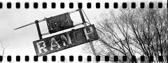 GH Ranch (No Stone Unturned Photography) Tags: black white monochrome kodak folding expired ilford delta 100 35mm film sprocket holes jiffy camera art deco 1933 six16 616 panoramic ranch abandoned sign
