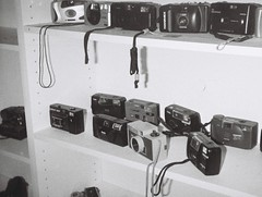 Cameras (Matthew Paul Argall) Tags: hanimex110if fixedfocus 110 110film subminiaturefilm lomographyfilm 100isofilm blackandwhite blackandwhitefilm grainyfilm cameracollection