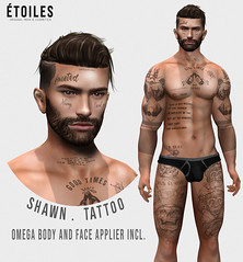 .Etoiles. Shawn Tattoo Vendor (Étoiles) Tags: second life designer event releases bodyfy tattoo face omega applier