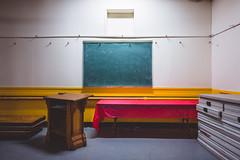 the.human.scale (jonathancastellino) Tags: church toronto architecture board chalkboard light line ordinary human scale leica q quiet basement podium table stack