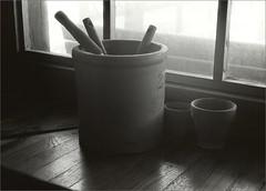 403 - Kodak Direct Positive Pan Film (Exp. 1965) in D-76 1:3 (Brad Renken) Tags: blackandwhite voightlander vito b skopar 3550 kodak direct positive dp 402 5246 d76 13 ilford warmtone pearl dektol 12 stilllife crock gardening 35mm