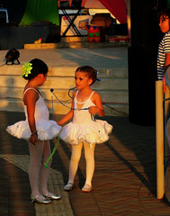Before the Show - Puntarenas, Costa Rica (TravelsWithDan) Tags: girls tutus performers dancers ballet sunsetlight stage puntarenas costarica candid city urban centralamerica street canong3x