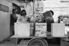 Buko Juice (Beegee49) Tags: street vendor cart mask buko salad juice blackandwhite monochrome bw luminar sony a6000 silay city philippines asia happy planet