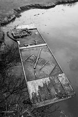 Drowning punt (Stephen Howett) Tags: fujifilm xt3 1024mm f4 cambridge punt abandoned britain uk england east anglia monochrome mono blackwhite