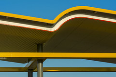 Roof with yellow wave (Jan van der Wolf) Tags: map185216v roof dak composition compositie construction yellow geel rood red lines lijnen lijnenspel playoflines interplayoflines wave golf benzinestation patrolstation architecture architectuur