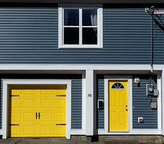 Yellow Doors (Karen_Chappell) Tags: yellow white blue house home downtown stjohns jellybeanrow city urban rowhouse architecture canada newfoundland nfld atlanticcanada avalonpeninsula eastcoast building bright paint painted wood wooden trim clapboard window doors door