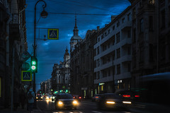 Evening (rsvatox) Tags: saintpetersburg longexposure urban magichour street people cars cityscape city architecture buildings