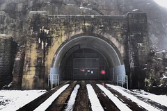 Woodhead tunnel.   (former GC Sheffield - Manchester line).  January 2019 (dave_attrill) Tags: tunnel tunnels entrance station disused railway line remains trackbed woodhead gc greatcentral sheffieldtomanchester woodheadstation closed1981 transpenninetrail longendaletrail cyclepath footpath bridleway snow winter january 2019 beechingcuts electrified peakdistrict nationalpark derbyshire