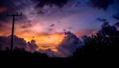 Sunset Behind Clouds (betadecay2000) Tags: channel isalnd northern territory australia australien blue hour blaue stunde darwin sunset sonnenuntergang abendrot freileitung hochspannung himmel sky weather wetter meteo orange blau weer wolken clouds cloud wolke ozeanien baum gras landstrase