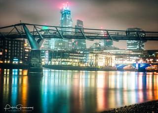 Long Exposure Night Time Image Of Millennium Bridge