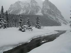 Lake Louise Banff Parkway (Mr. Happy Face - Peace :)) Tags: art2019 snow snowcaps rockies mountains lakelouise hotel fairmount chateau albertabound alberta canada parkscanada cans2s outdoors activities landscape scenery trees forest hiking
