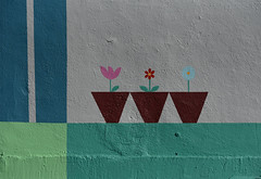 Rained so much...flowers are growing on the wall (remiklitsch) Tags: winter snow rain rainyday freezing mural flowers inspiration motivation color colorful nikon remiklitsch tulip daisy la streetart graphic green pink red yellow blue