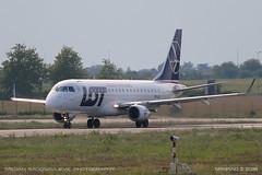Embraer ERJ-175 (srkirad) Tags: aircraft airplane airliner embraer erj175 lot polish takingoff airport aerodrom tesla belgrade beograd serbia srbija sunny planespotting grass sky