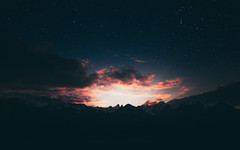 Stary sunset! (rogi.cimis) Tags: ciel parc neige snow mountain mountains montagne switzerland suisse landscape flanc de milkyway milky way neuchatel night nightphotography nightscape sunset orange sun coucher soleil