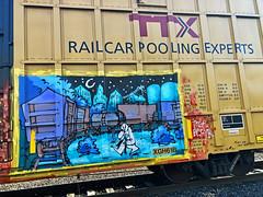 Riding the Rails by TOER (wiredforlego) Tags: graffiti mural streetart urbanart aerosolart illegalart train rail freight toer portland oregon pdx