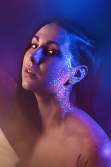 Stars (AlexanderHorn) Tags: lighting studio neon uv ultraviolet portrait portraiture woman face dramatic atmosphere sony a7riii