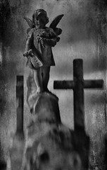 Doria Manfredi, Puccini's maid (Lucretia My Reflection) Tags: lensbaby sweet50 tiltlens blur bokeh doriamanfredi puccini giacomopuccini suicide shame grave gravestone lovestory goth gothic cemetery statue selectivefocus angel texture haunting seeinanewway child sadstory cross wings
