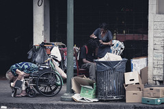 The Streets of Honolulu, Hawaii (Corey Rothwell) Tags: home homeless canon 5d trash drugs wheelchair dark boxes houseless addicts