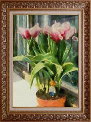 Чиполлино в саду своих родственников / Cipollino in the garden of his relatives :) (tatiana.ch) Tags: стилизация фотоживопись фото2013 фото2019 тюльпаны натюрморт натюрмортцветочный рамка стильстарыхмастеров dap painting phototopainting ownphoto flower tulips stilllife naturemorte monet olddry