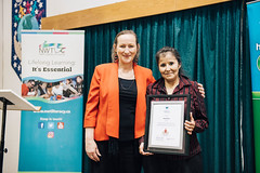 NORTHWEST TERRITORIES/TERRITOIRES DU NORD-OUEST: Award recipient/lauréate Diane Brule, with/avec the Honourable/l'honorable Caroline Cochrane, Minister of Education, Culture and Employment/Ministre de l'Éducation, de la Culture et de la Formation