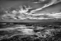 Yesteday is Here DSC_2800 (BlueberryAsh) Tags: seascape monochrome pointroadknight ocean blackandwhite water rocks cloudsstormssunsetssunrises nikond750 nikon