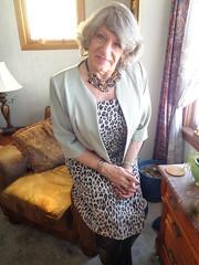 A Pensive Woman. Contemplating My Own Mortality, Perhaps? (Laurette Victoria) Tags: woman laurette dress animalprint lady necklace