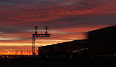 Fast stacks (GLC 392) Tags: union pacific up emd sd70m sunrise streak streaking stacks railroad train silhouette signal signals sun rise america clouds life pure railway cheyenne wy wyoming west is best fast
