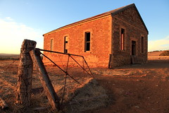 Bondleigh Hall (Darren Schiller) Tags: australia abandoned architecture building bondleigh community callington derelict disused decaying deserted dilapidated empty evening gate hall stone old rural rustic rusty post smalltown southaustralia sunset vintage ruin