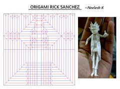 ORIGAMI - RICK SANCHEZ CP (Neelesh K) Tags: origami rick sanchez morty cartoon paperfolding neeleshk tracing paper 32 grids boxpleating