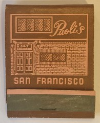 PAOLI'S SAN FRANCISCO CALIF (ussiwojima) Tags: paolis restaurant bar cocktail lounge sanfrancisco california advertising matchbook matchcover