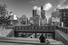 Enjoying a Morning View (allentimothy1947) Tags: highline manhattan newyorkstate architecture buildings clouds cloudy hudson newyorkcity people reflections streets 9197 high line new york state city rain subway transportationbuildings walk