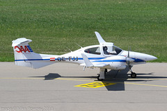 OE-FJJ - 2005 build Diamond DA42 Twin Star, taxiing for departure on Runway 24 at Friedrichshafen during Aero 2018 (egcc) Tags: 42037 aero aerofriedrichshafen aerofriedrichshafen2018 aircraftrentalpilottraining austrianaircraftcorporation bodensee da42 diamond edny fdh friedrichshafen lightroom oaa oefjj twinstar wwwaacat