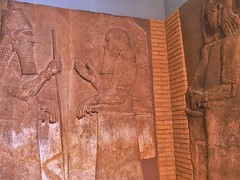from Khorsabad The Palace of Sargon, carvings depicting the king and crown prince, royal courtiers (721-705 BC) (lukenotskywalker60) Tags: assyrian artefacts british museum khorsabad palace sargon asur