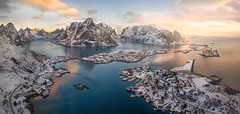 Frozen Ground (aditya.jagtiani) Tags: red norway arctic architecture cityscape urban landscape drone aerial panorama sunrise ocean mountains clouds blue bay bridge snow ice glacier road glow goldenhour winter travel hiking peak north europe atlantic lofoten momentum reflection warm cold nature natural world