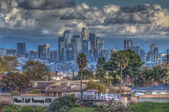 View of L.A. Skyline (Michael F. Nyiri) Tags: downtownlosangeles losangeles cityscape skyline skyscrapers clouds cloudscapes sky kennethhahnstaterecreationarea california southerncalifornia