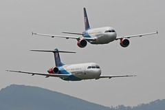 OM-BYC Fokker 100 and OM-BYA AIrbus ACJ319-115X Slovak Government formation flypast Nose On Sliac 01st September 2018 (michael_hibbins) Tags: ombyc fokker 100 slovak government sliac 01st september 2018 aeroplane aviation aerospace aircraft airplane air aero airshow airfields airport airports aeroexpo plane planes jet jets military transport tactical strategic defence