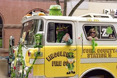 A vintage 1982 Mack CF Pumper fire engine in the 2019 York St. Patrick's Day Parade. Shot on Pentax Spotmatic SPII w/ Tamron  CF MACRO 35-70mm & Kodak Portra 160 film pushed +1. (Nate Gentzler) Tags: vintage mack fireengine parade pentax spotmatic tamron kodak portra film kodakportra160 photoexif tamroncfmacro3570f35 pentaxspotmaticspii adaptall portra160